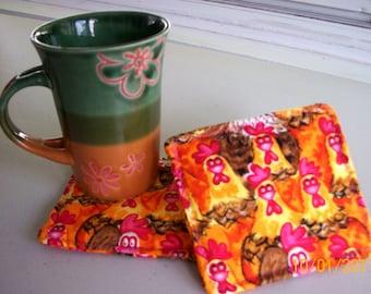 Crazy Chicken Fabric Beverage Coasters