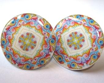 Neon Kaleidoscope Post Earrings