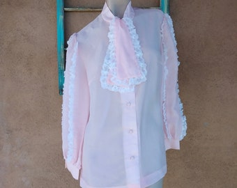 15d63e37 Vintage 1980s Pink Pussy Bow Blouse Lacy Cha Cha Sleeves Sz L