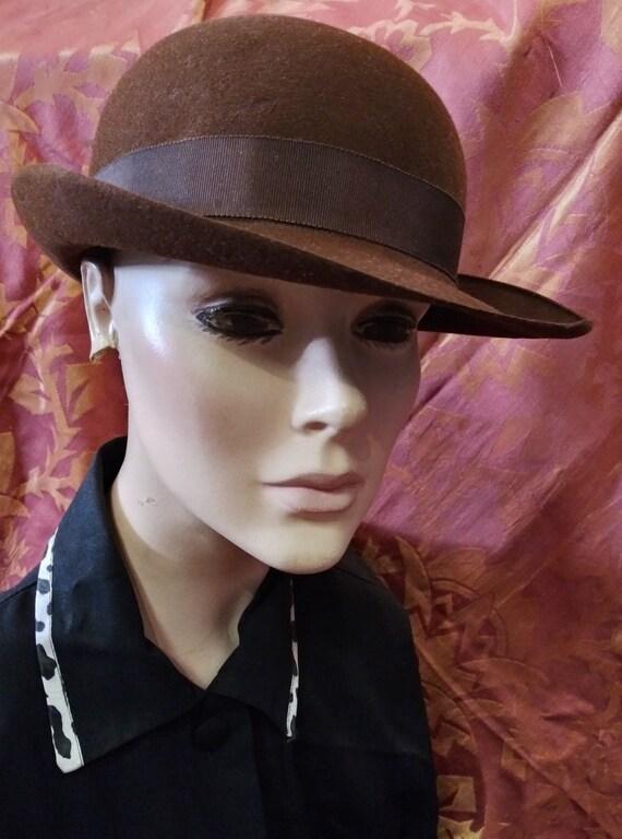 Vintage 1940s Brown Dobbs Hat Derby Fedora Sz 7