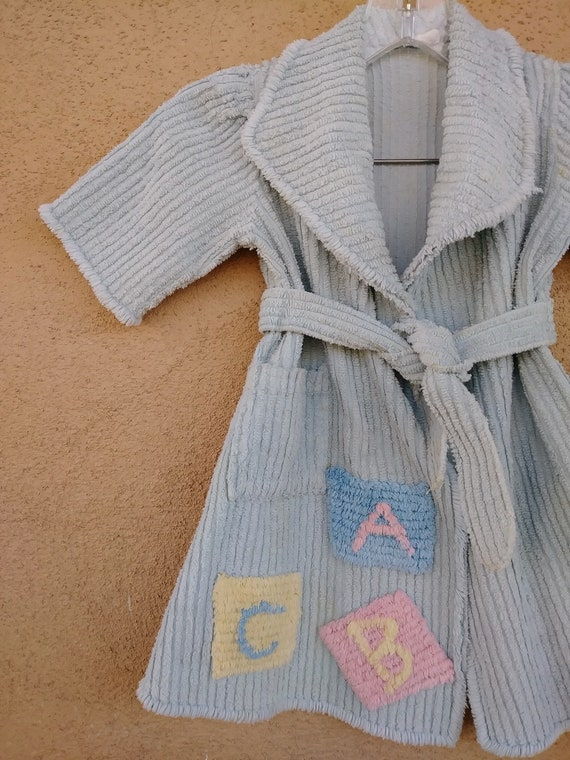 Vintage 1950s Chenille Robe Wrapper Childs Sz 2T 3