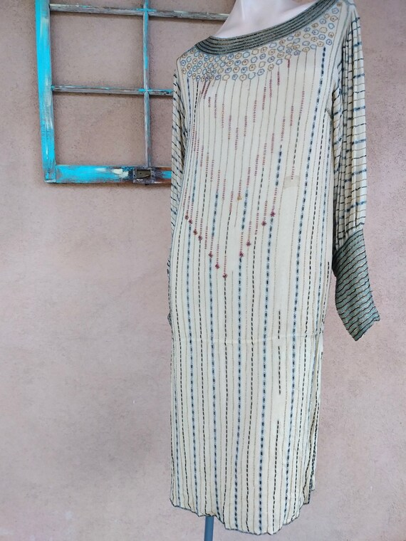 Vintage 1970s Beaded Evening Dress 20s Flapper Sty