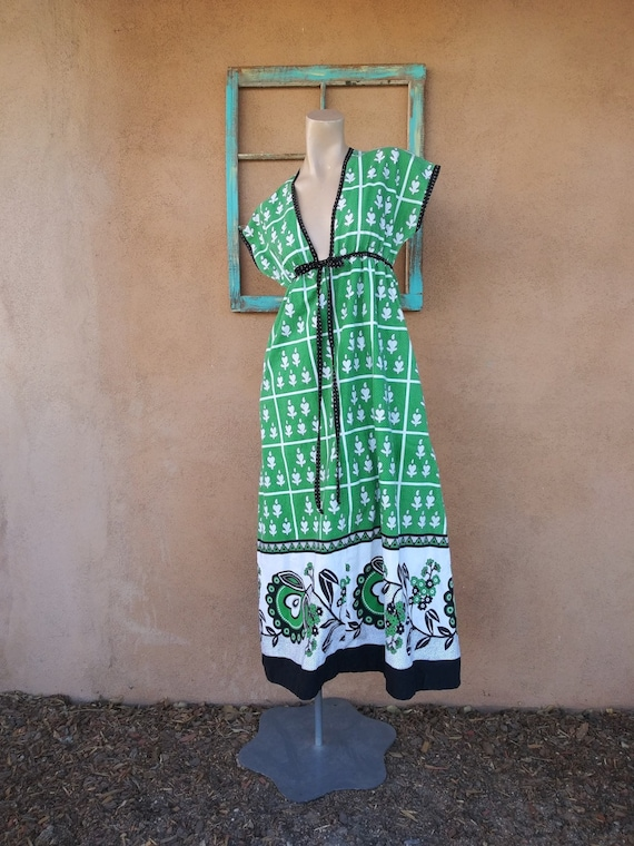 Vintage 1970s Sundress Beach Cover Up Dress Sz S M