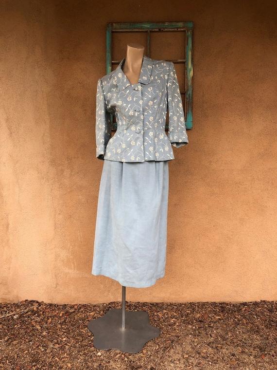 Vintage 1950s Baby Blue Linen Suit Sz S US 6 8 W26