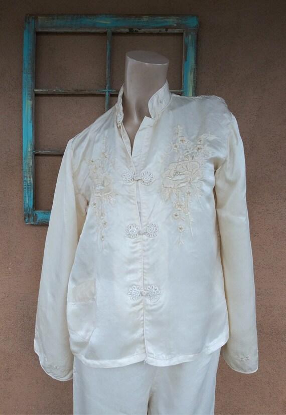 Vintage 1940s Silk Pajamas Hostess Loungewear 2 Pc
