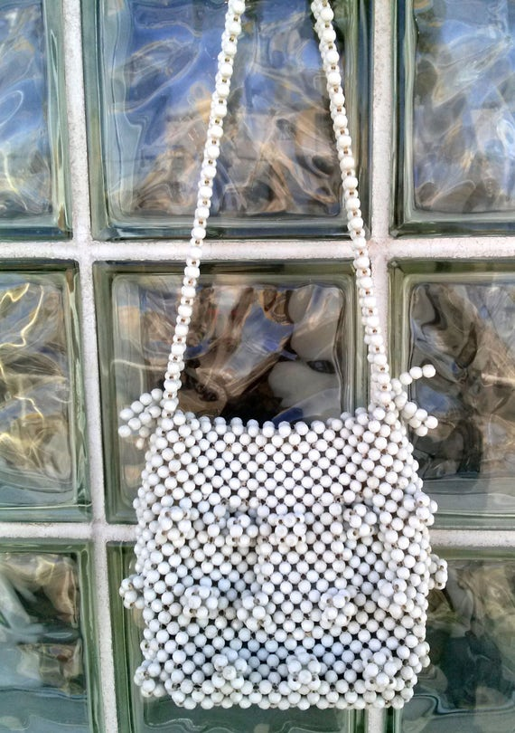 Vintage 1960s White Beaded Purse Handbag Shoulder… - image 2