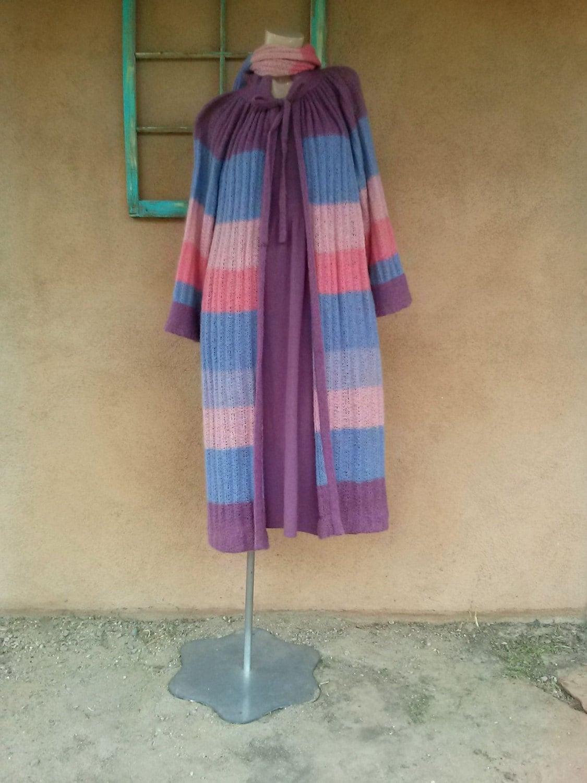 Vintage Scarf Styles -1920s to 1960s Vintage 1970S Sweater Dress W Long Coat Judit Ulman 3 Pc Sz M 38 $245.00 AT vintagedancer.com