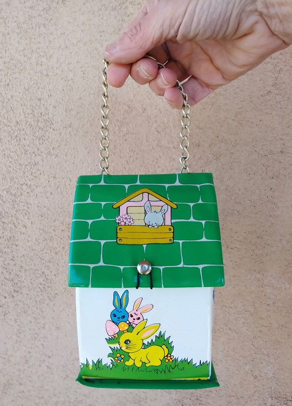 Vintage 1960s Vinyl Novelty Purse Tiny House Handb
