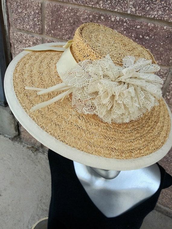 Vintage 1940s Straw Hat Tilt Perch OS