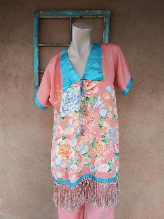 Vintage 1920s Silk Pajamas Hostess Loungewear 2 PC