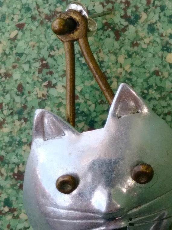 Vintage 1980s Cat Earrings Pierced 80s Statement … - image 5
