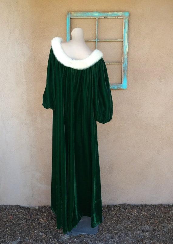 Vintage 1960s Green Velvet Robe Dressing Gown Luc… - image 7