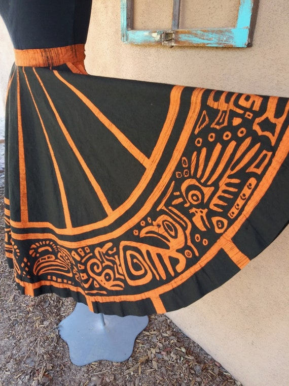 Vintage 1950s Hand Painted Mexican Skirt Sz S W24