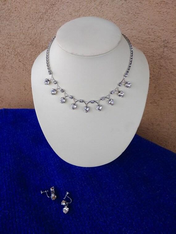 Vintage 1950s Rhinestone Heart Necklace Earrings D