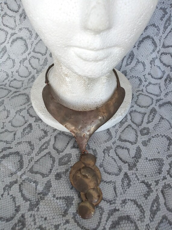 Vintage 1970s Brutalist Bib Choker Necklace Ed Gra