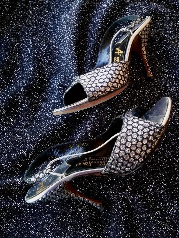 Vintage 1950s High Shoes 50s Stilettos Silver High 1950s Heels Womens US6 779d50