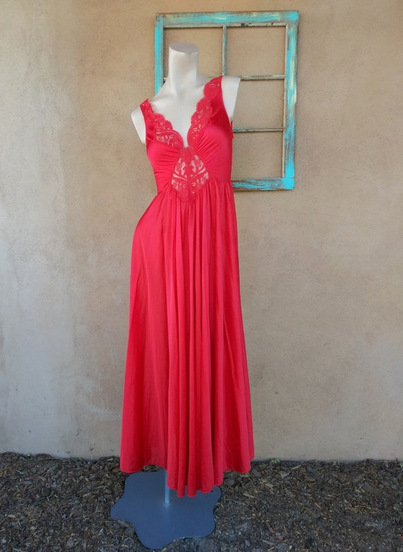 Vintage 1980s Red Olga Nightgown Style 92270 Sz L