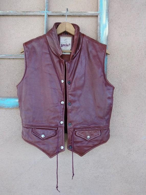 Vintage 1970s Oxblood Leather Vest Unisex