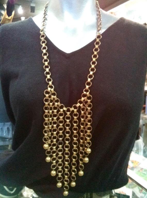 Vintage 1940s Brass Bib Necklace Belt Egyptian Rev