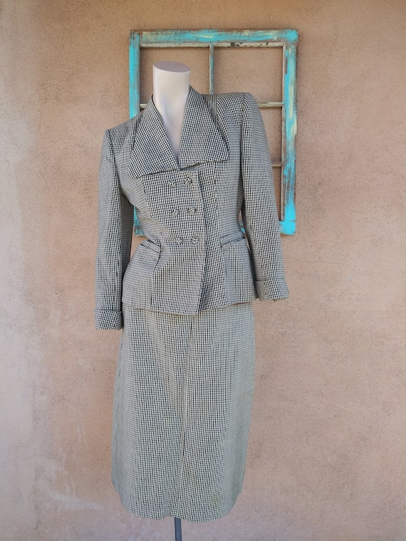 Vintage 1950s Wool Houndstooth Suit 2 PC US4 W25