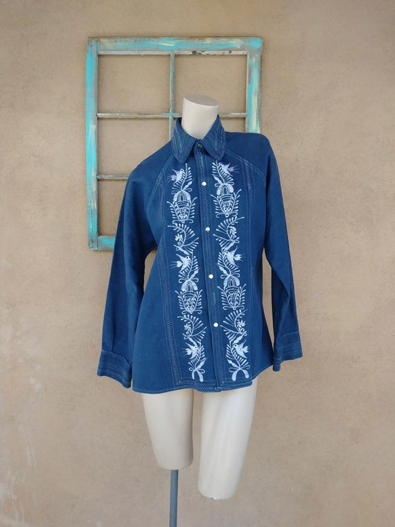 Vintage 1970s Mens Denim Embroidered Shirt Mens M