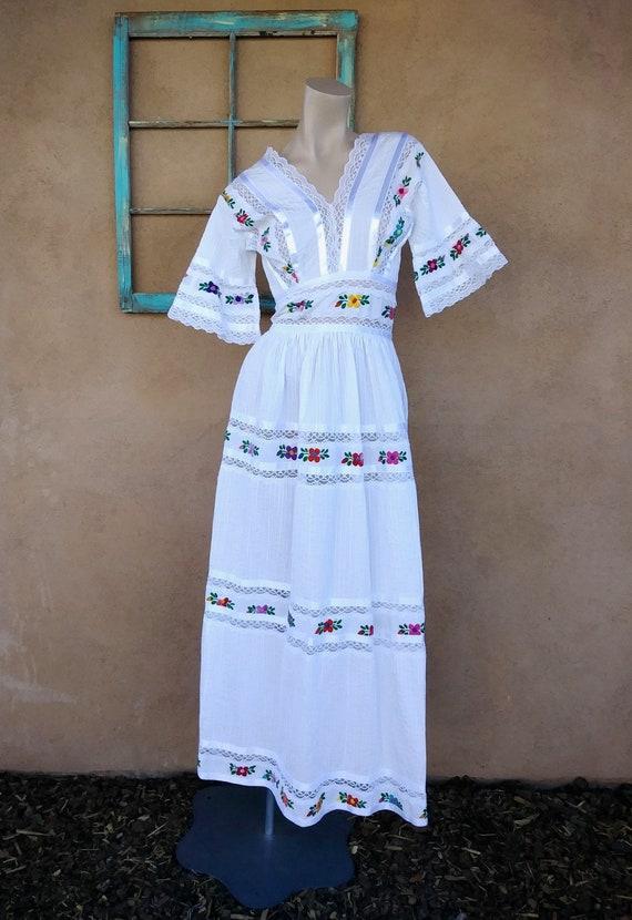 Vintage 1970s Mexican Wedding Gown Maxi Dress Sz S