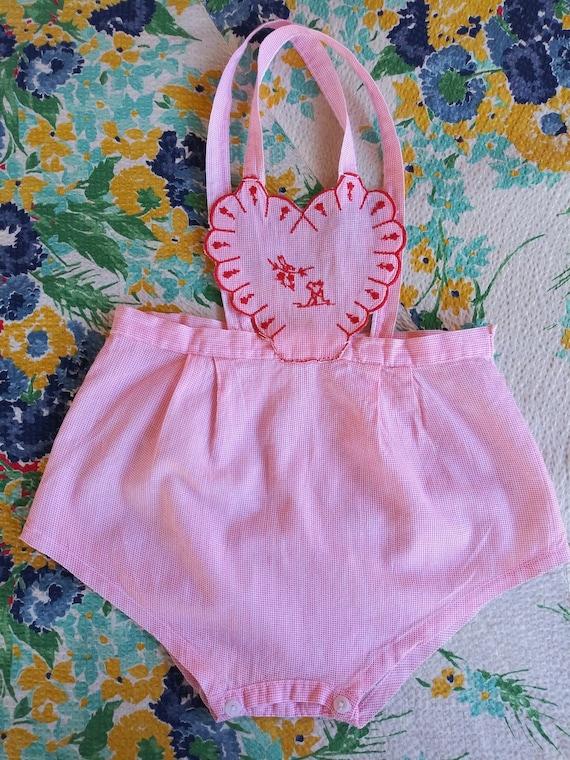 Vintage 1950s Baby Girl Sunsuit Romper Playsuit 6