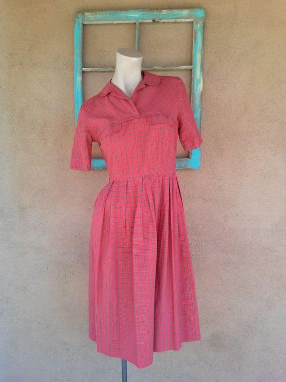Vintage 1950s Red Plaid Dress B34 W27