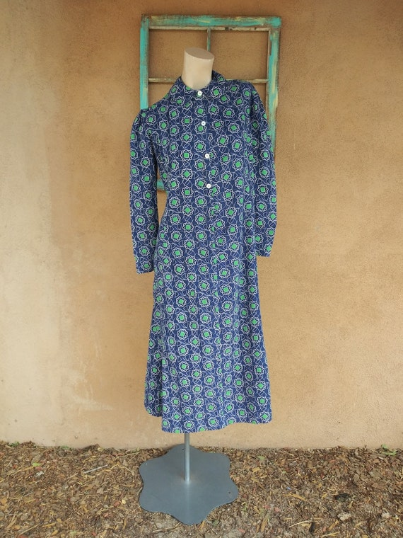 Vintage 1930s Cotton Dress Novelty Print Sz M