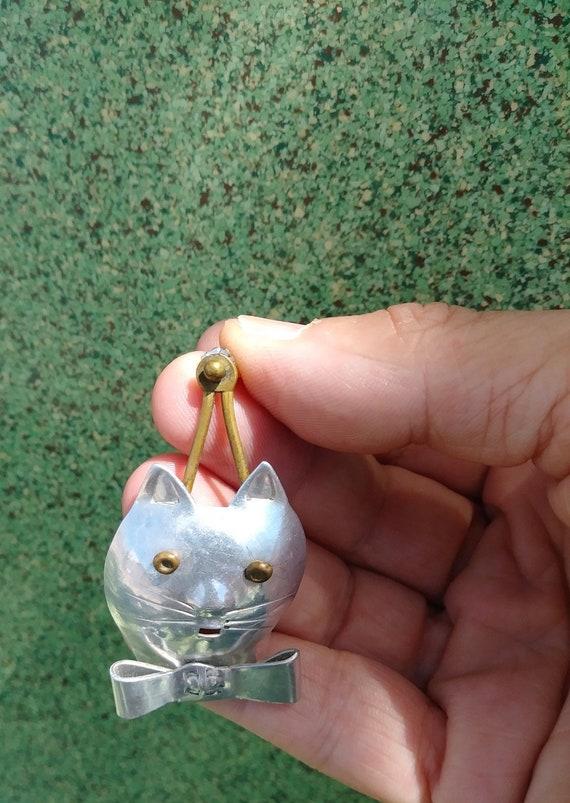 Vintage 1980s Cat Earrings Pierced 80s Statement … - image 3