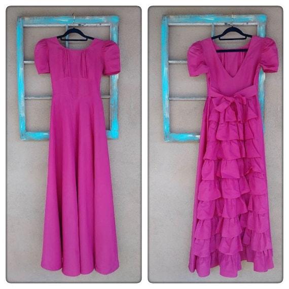 Vintage 1930s Raspberry Taffeta Evening Gown Junio