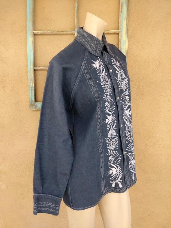 Vintage 1970s Mens Embroidered Denim Shirt Sz M - image 4
