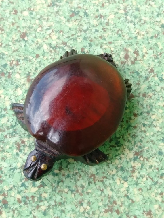 Vintage 1940s Turtle Dress Clip Lucite and Wood