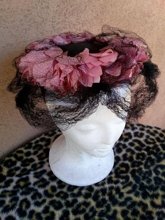 Vintage 1940s Black Perch Hat Pink Petals