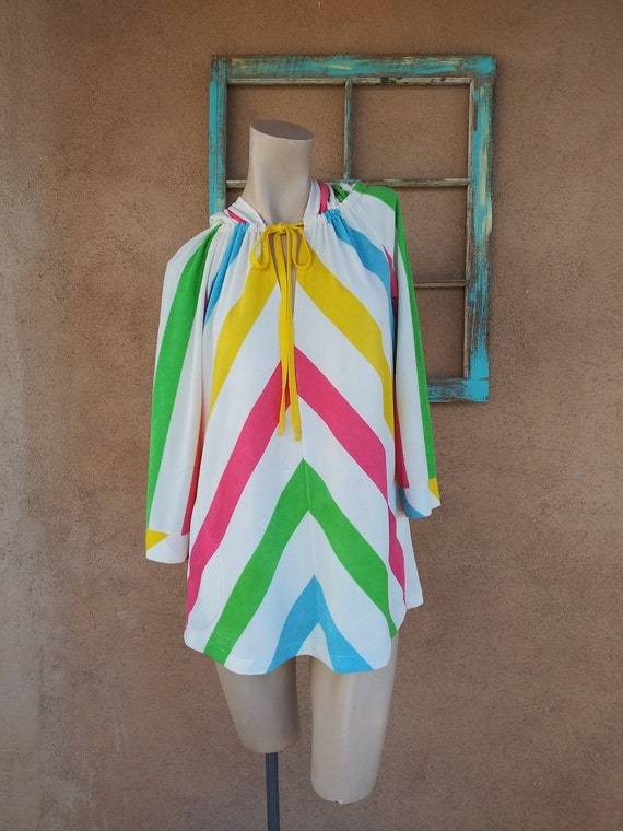 Vintage 1970s Hooded Terry Cloth Tunic Beach Cover