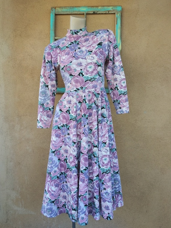 Vintage 1980s Chintz Dress Big Florals Sz S W 27
