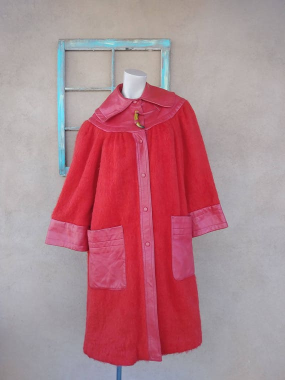 Vintage 1970s Red Mohair Coat Leather Trim Giorgio