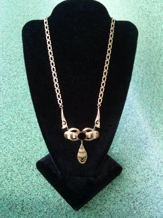 Vintage 1930s Victorian Revival Brass Necklace 15… - image 2