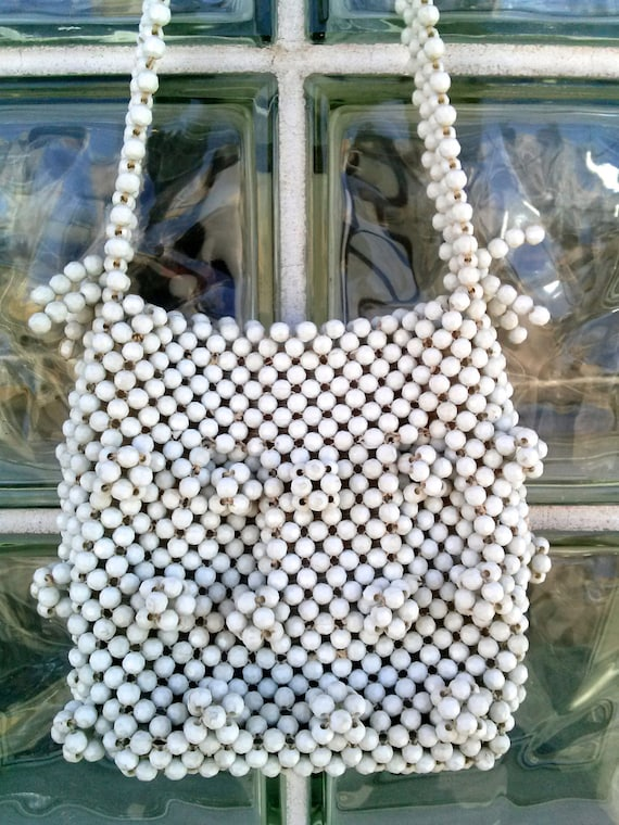 Vintage 1960s White Beaded Purse Handbag Shoulder… - image 1
