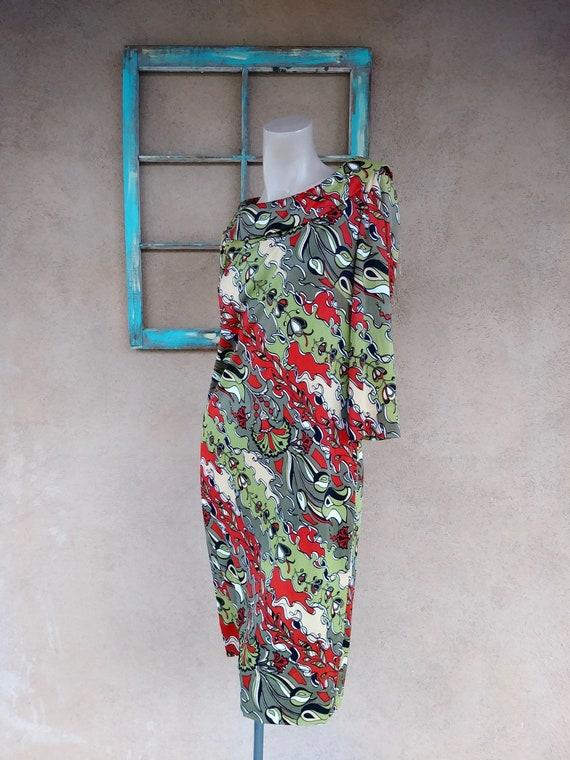 Vintage 1960s Mod Psychedelic Sheath Dress Sz M L