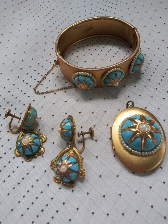 Vintage 1940s Gold Florenza Style Bracelet Earring