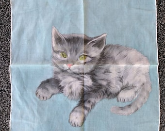Vintage 1960s Handkerchief 60s Skandia Hanky Kitten Cat Blue Cotton