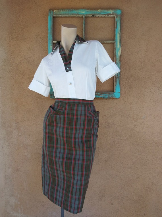 college preppy striped mod 1960s Vintage Mid Century PLAID Blouse...brown retro hipster button down 60s clothing school girl