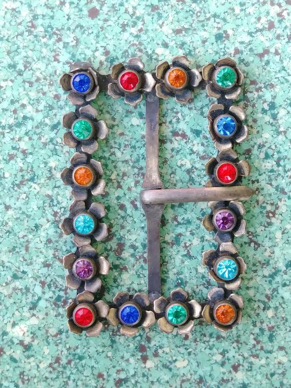 Vintage 1930s Brass Belt Buckle Glass Stones Flowe