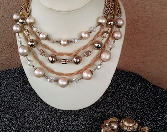 Vintage 1960s Necklace Multi Strand Pearls Gold Mesh 60s Demi Parure 2 Pc