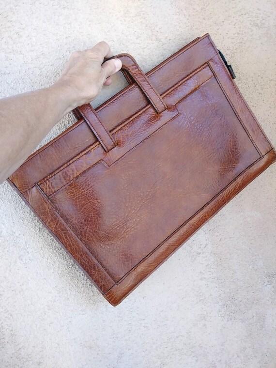 Vintage 1970s Brown Vinyl Attache Briefcase Handba