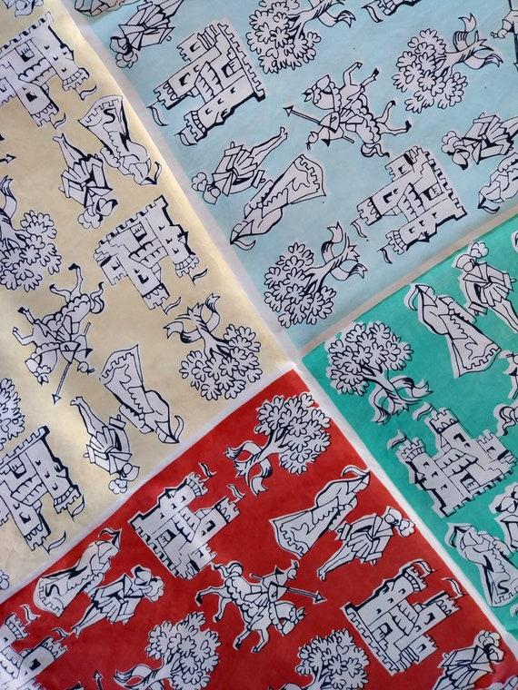 Vintage 1950s Silk Scarf Novelty Print Knights Cas