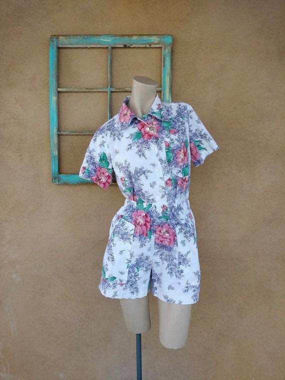 Vintage 1980s Sunsuit Shorts Blouse Floral Chintz