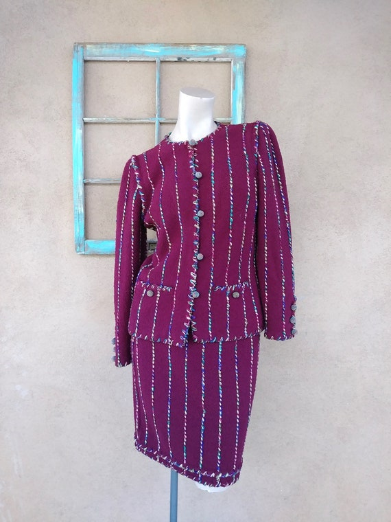 Vintage 1970s Adolfo Wool Suit Knit Boucle 2 PC US