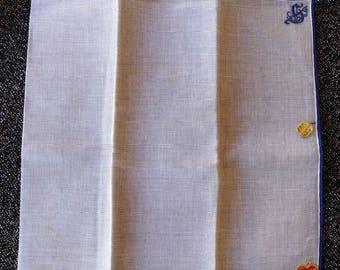 Vintage 1950s Handkerchief Cotton Hanky Pocket Square Monogrammed S